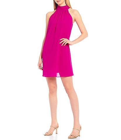Belle Badgley Mischka Elise Halter Neck Trapeze Dress