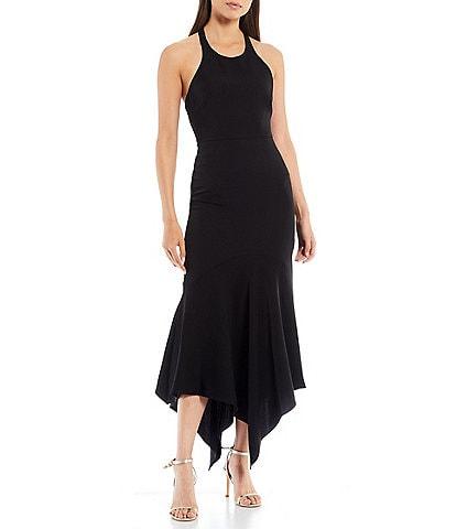 Belle Badgley Mischka Elynne Asymmetrical Hem Tie Halter Dress
