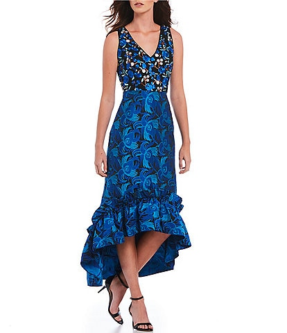Belle Badgley Mischka Embroidered Ruffle High-Low Jacquard Gown