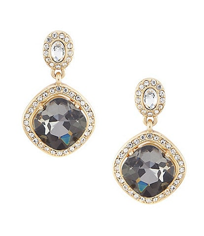 Belle Badgley Mischka Faceted Stone Squared Drop Earrings