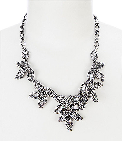 Belle Badgley Mischka Fancy Pave Leaf Frontal Necklace