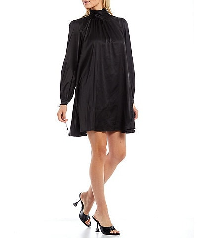 Belle Badgley Mischka Gigi Silk Mock Neck Long Sleeve Trapeze Dress
