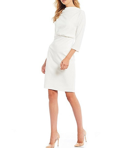 Belle Badgley Mischka It Boat Neck Stretch Crepe Blouson Dress