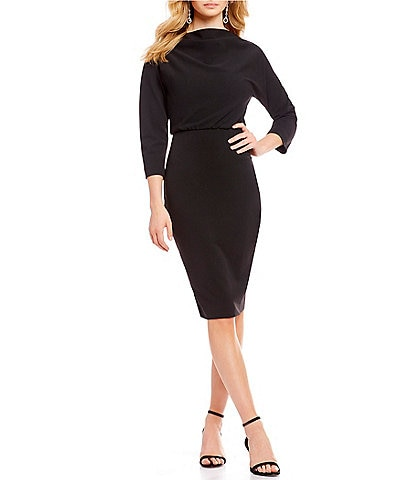 Belle Badgley Mischka It Draped Boat Neck 3/4 Sleeve Blouson Dress
