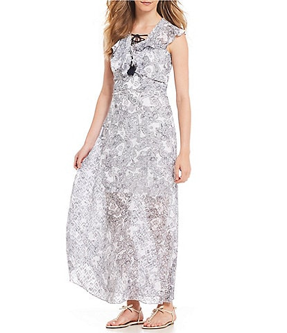 Belle Badgley Mischka Lace Up Ruffled Paisley Maxi Dress