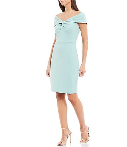 Belle Badgley Mischka Libby Front Twist Knot Off-The-Shoulder Stretch Crepe Dress