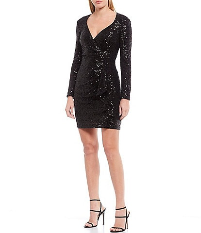 Belle Badgley Mischka Lizabeth Allover Sequin Wrap Sheath Dress