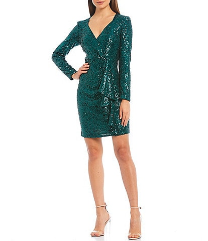 Belle Badgley Mischka Lizabeth Ruffle Front Stretch Sequin Sheath Dress