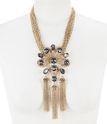 Belle Badgley Mischka Multi Stone Tassel Pendant Statement Necklace