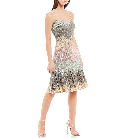 Belle Badgley Mischka Natalie Ombre Sequin Scoop Neck Sleeveless Dress