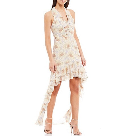 Belle Badgley Mischka Naty Halter V-Neck Floral Print Double Ruffle Hi-Low Georgette Dress