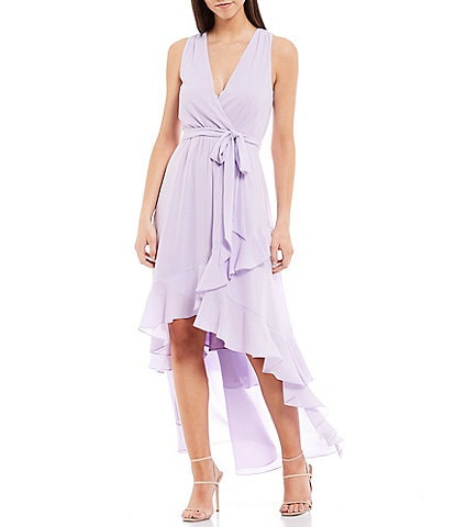 Belle Badgley Mischka Nyla V-Neck Ruffle Tie Waist Hi-Low Georgette Dress