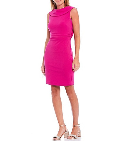 Belle Badgley Mischka Olivia Drape Back Cowl Neck Sleeveless Dress