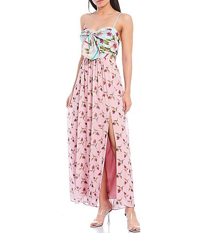 Belle Badgley Mischka Ollie Floral Combo Sweetheart Neck Front Slit Sleeveless Maxi Dress