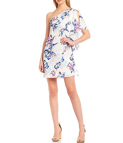 Belle Badgley Mischka Paloma Crepe de Chine One Shoulder Brush Stroke Floral Print Dress