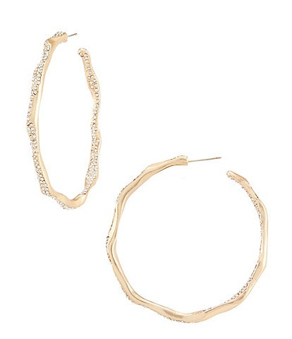 Belle Badgley Mischka Pave Hammered Hoop Earrings