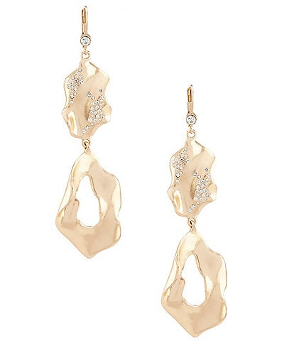 Belle Badgley Mischka Pave Hammered Metal Drop Earrings
