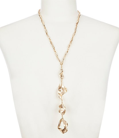 Belle Badgley Mischka Pave Hammered Metal Y Necklace