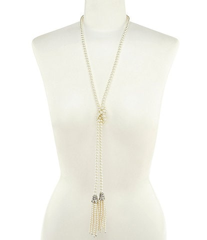 Belle Badgley Mischka Faux-Pearl Tassel Necklace