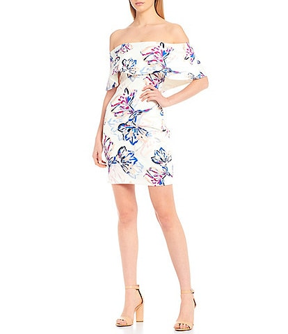 Belle Badgley Mischka Pippa Ruffle Off-the-Shoulder Scuba Brush Stroke Floral Print Dress