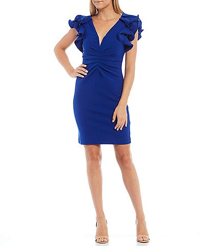 Belle Badgley Mischka Plunge V-Neck Ruched Front Cap Ruffle Sleeve Dress