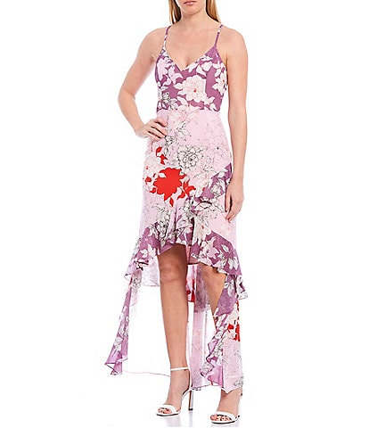 Belle Badgley Mischka Raini Georgette Floral Printed Sleeveless Hi-Low Ruffle Dress