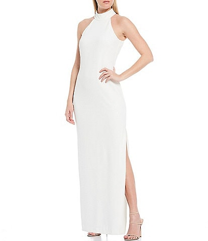Belle Badgley Mischka Reese Halter Neck Crepe Side Slit Gown