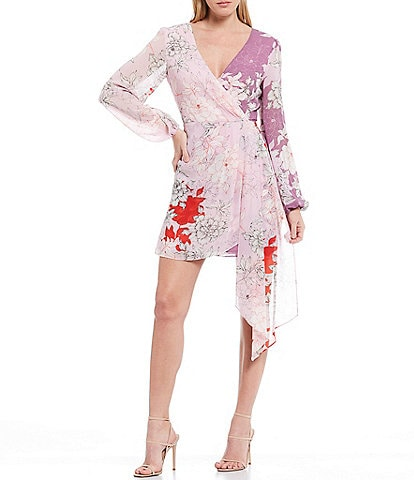 Belle Badgley Mischka Renee Floral Print Georgette Long Sleeve Wrap Front Drape Detail Dress