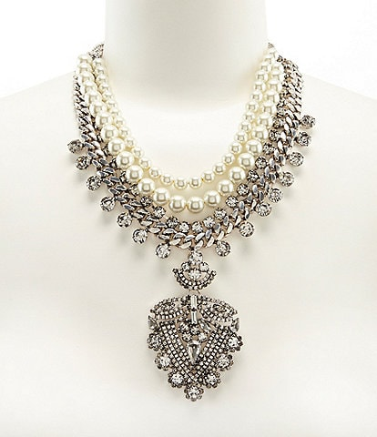 Belle Badgley Mischka Rhinestone & Faux-Pearl Pendant Statement Necklace