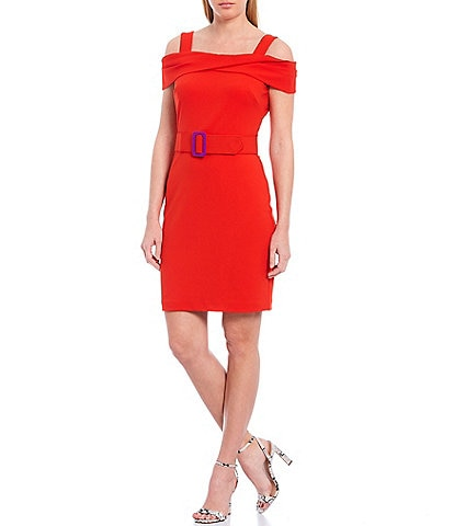 Belle Badgley Mischka Rosie Belted Off-The-Shoulder Crepe Dress
