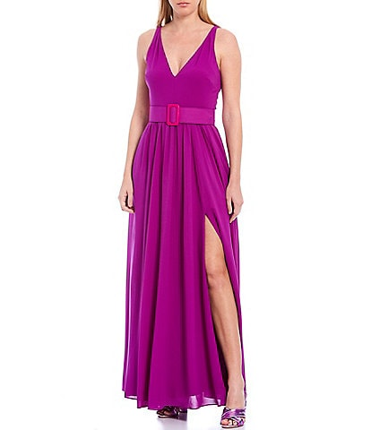 Belle Badgley Mischka Roslyn Georgette Belted Front Slit Sleeveless Gown