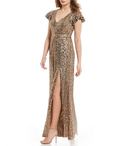 Belle Badgley Mischka Ruffled Statement Shoulder V-Neck Slit Front Sequin Gown
