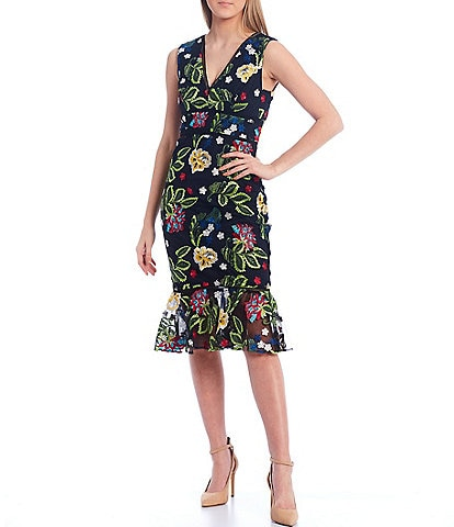 Belle Badgley Mischka Taylor Floral Embroidered Ruffle Dress