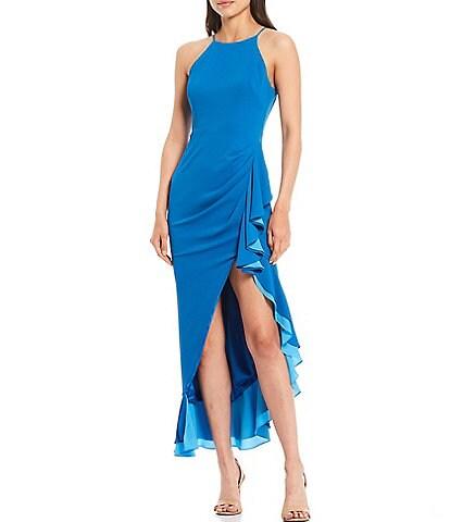 Belle Badgley Mischka Tracy Ruffle Side Slit Gown