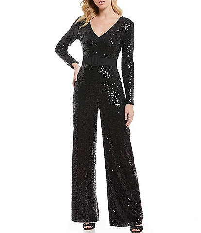 Belle Badgley Mischka V-Neck Wide Leg Belted Sequin Jumpsuit