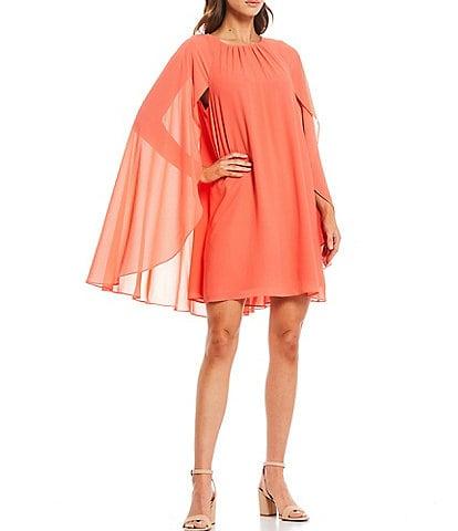 Belle Badgley Mischka Round Neck Victoria Long Cape Sleeve Trapeze Dress