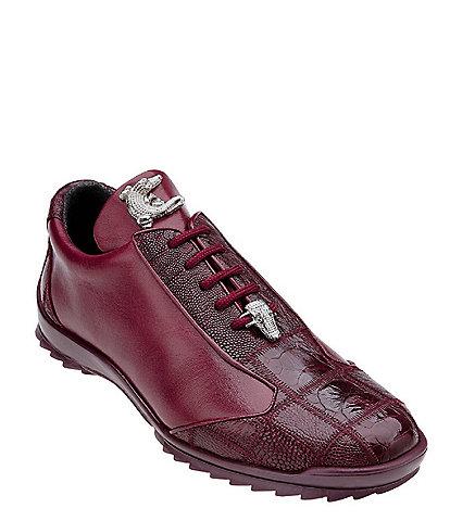 Belvedere Men's Paulo Sheer Ostrich Calfskin Leather Sneakers