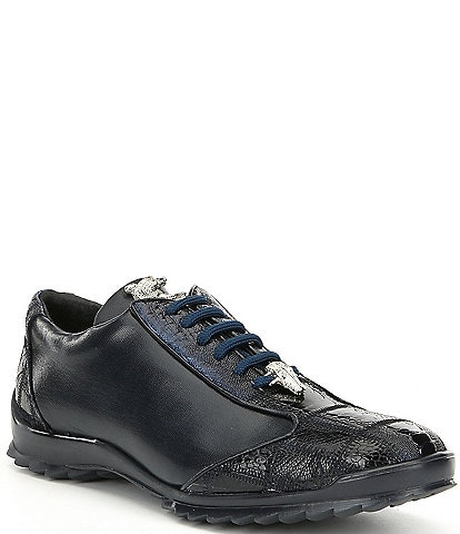 Belvedere Men's Paulo Sheer Ostrich Calfskin Leather Sneakers
