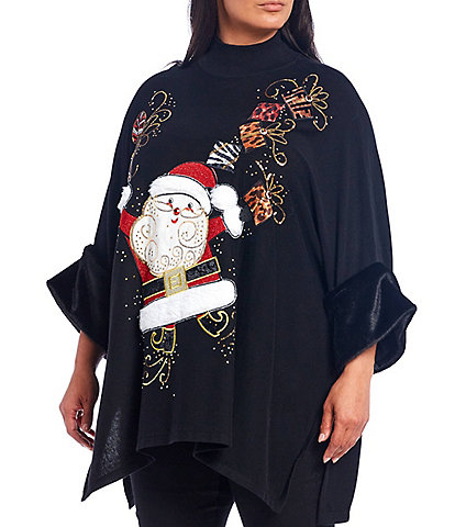 Berek Plus Size Santa & His Presents Mock Neck Faux Fur Cuff Christmas Sweater
