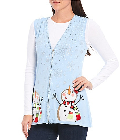 Berek Snowman Day Faux Fur Collar Christmas Sweater Vest