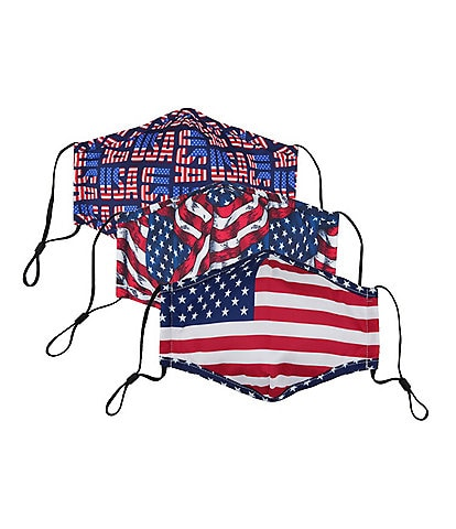 Americana Flags Adjustable Cloth Face Masks With Built-In Filters 3-Piece Set
