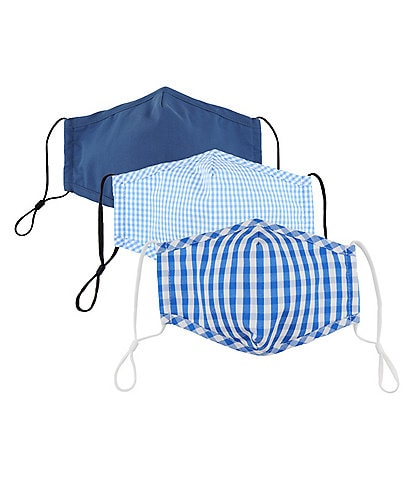 Dillard's Assorted Blue Gingham Print Adjustable Cloth Face Masks With Built-In Filters 3-Piece Set