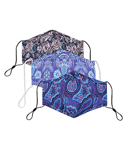 Floral Paisley Adjustable Cloth Face Masks With Built-In Filters 3-Piece Set