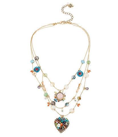Betsey Johnson Bead & Flower Heart Illusion Necklace