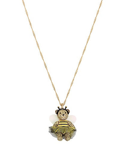 Betsey Johnson Bumble Bee Pave Bear Long Pendant Necklace