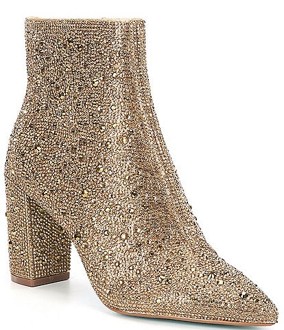 Blue by Betsey Johnson Cady Rhinestone Embellished Block Heel Booties