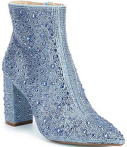 Blue by Betsey Johnson Cady Rhinestone Embellished Block Heel Booties