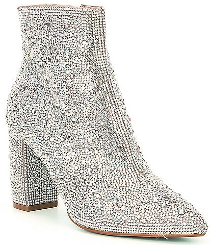 Betsey Johnson Cady Rhinestone Embellished Block Heel Booties
