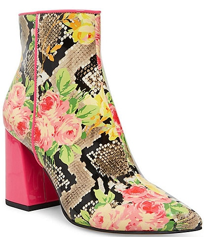 Betsey Johnson Cait Patent Snake Floral Booties
