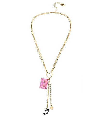 Betsey Johnson Cassette Mixed Charm Y-Necklace